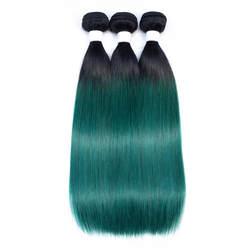 300 г много перуанский прямо волна пучки волос человеческих пучки волос 10-18 дюймов волос T1B/ зеленый Цвет ombre зеленые волосы