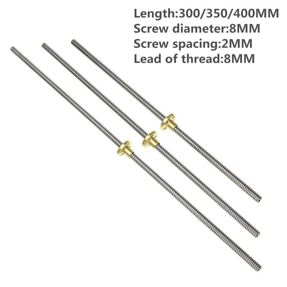 Imprimante 3D THSL-300-8D Plomb Vis Dia 8 MM Fil 8mm Longueur 300mm 350 400mm Trapézoïdale Broche Vis avec Écrou De Cuivre Plomb vis