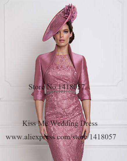 b8e10f92a2ee Elegante rosa antico breve madre della sposa abiti di pizzo con giacca  guaina plus size vestito madrina LO190. LO190 (6) LO190 (5) LO190 (4)