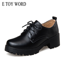 E TOY WORD autumn British style split leather Women square Heel Flat Platform Shoes Woman lace-up oxford shoes for women shoes цены онлайн