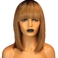 Eversilky Ombre Short Bob Wig 360 Lace Frontal Human Hair Wigs With Bangs For Women Peruvian Straight Blonde RemyHair Fringe Wig