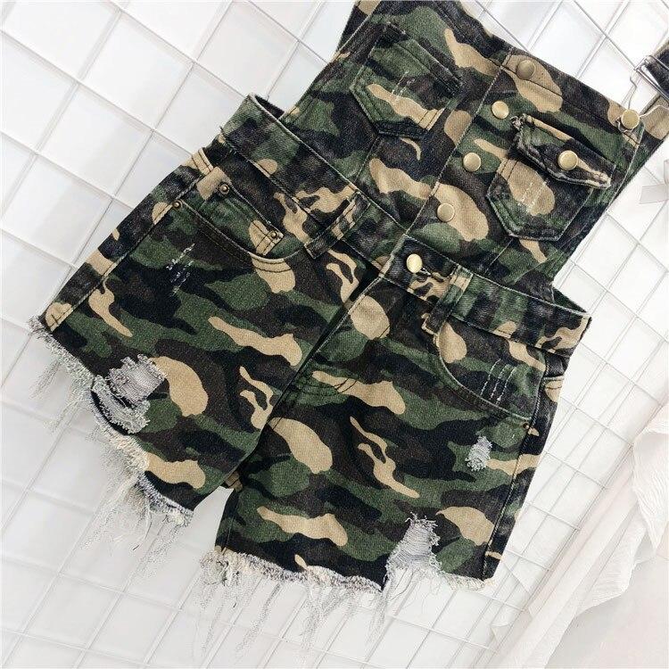 CbuCyi Women Playsuit Denim Rompers Womens Jumpsuits Hole Korean Short Playsuits Cotton Denim Tracksuits Combinaison Short Femme (13)