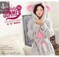 Invierno de la Cachemira Albornoz Robe Pijamas Camisón Leisurewear Túnica Con Capucha Pijama de Franela Engrosamiento de Las Mujeres Pijama Panda Conejo