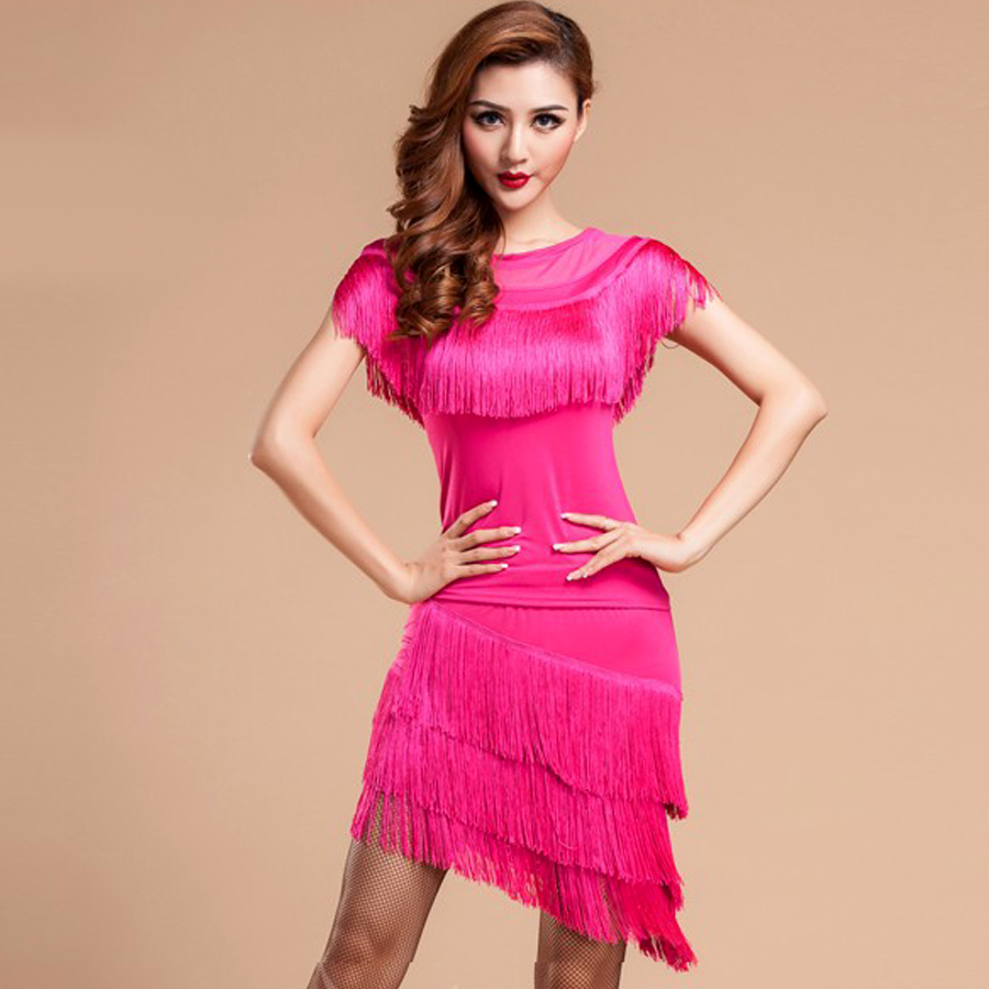 Baile latino falda franja vestidos sexo Latina danza vestido mujeres ...