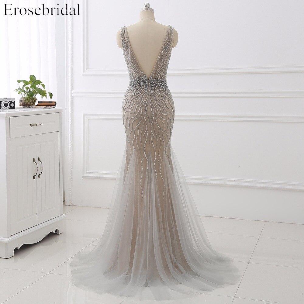 Erosebridal Light Grey Mermaid Evening Dress Long 2019 Beaded Belt Lace Formal Women Wear V Neck Back In Stock