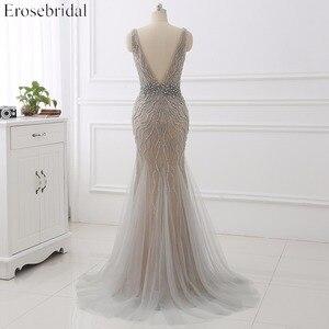 Image 2 - Erosebridal Meerjungfrau Abendkleid Lange 2020 Licht Grau Perlen Luxus Lange Formale Kleid mit Zug Open Back Lange Abendkleid