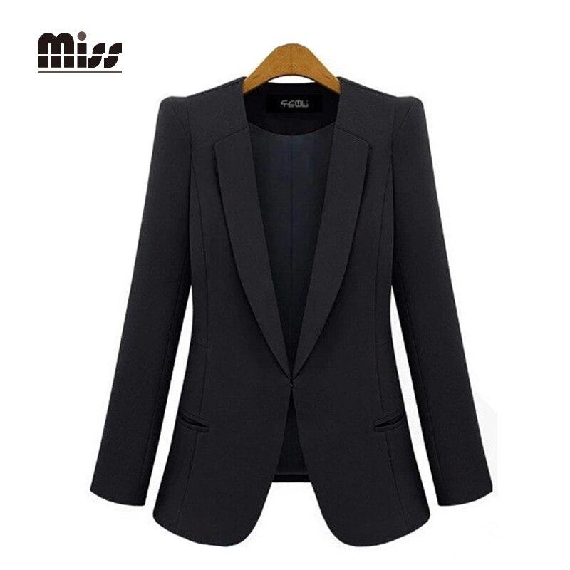 MISS 2016 Black Blazer Women Suits Jacket Autumn Casual Slim Solid Long  Sleeve Work Ladies Jackets Plus Size T5B09 081b3a827