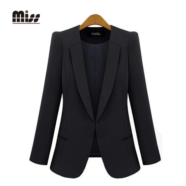 fc65f0d8830d MISS 2016 Black Blazer Women Suits Jacket Autumn Casual Slim Solid Long  Sleeve Work Ladies Jackets Plus Size T5B09