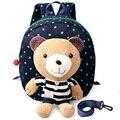 Bonito urso crianças saco de escola Canvas menina mochilas com o bebê Keeper da criança cinta evitar que o bebê para perdido