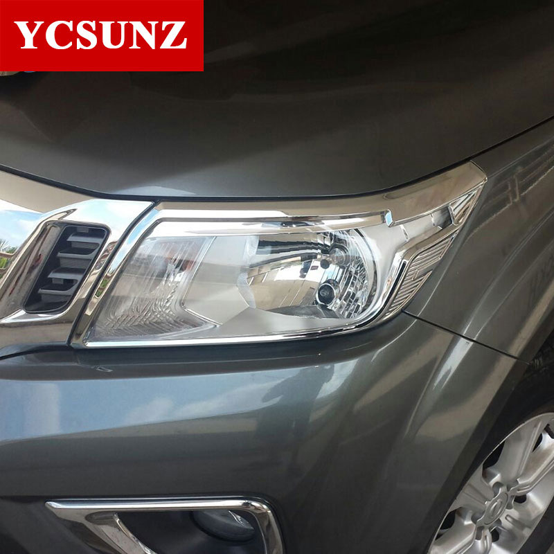 2014 2019 ABS Chrome For Nissan Navara 2017 Np300 Accessories Head Light Trim For Nissan Navara