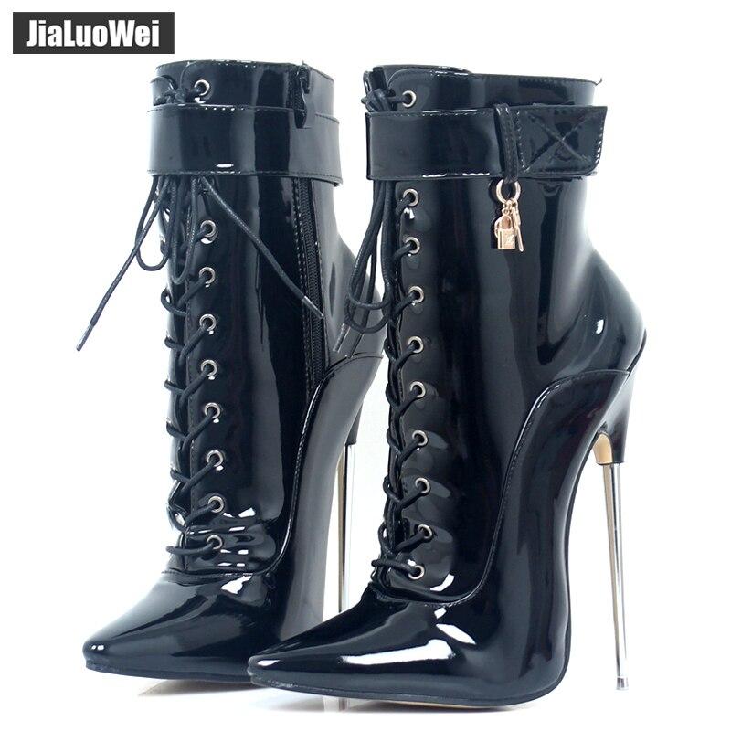 Jialuowei fétiche bottes à talons hauts femmes Sexy 18 cm talons hauts en métal talon à lacets bout pointu dague bottines pointues tailles 35-46