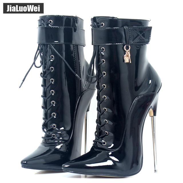 06a91cf2972 jialuowei Fetish High Heel Boots Women Sexy 18cm High Heels Metal Heel  Lace-Up Pointy Toe Dagger Ankle Boots Devious Sizes 35-46