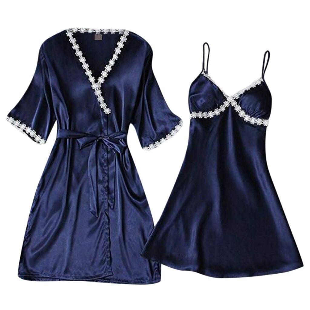 Womail 2pcs Women Sexy Satin Lace Sleepwear Babydoll Lingerie Nightdress Stylish and comfortable   Pajamas     Set   M301217