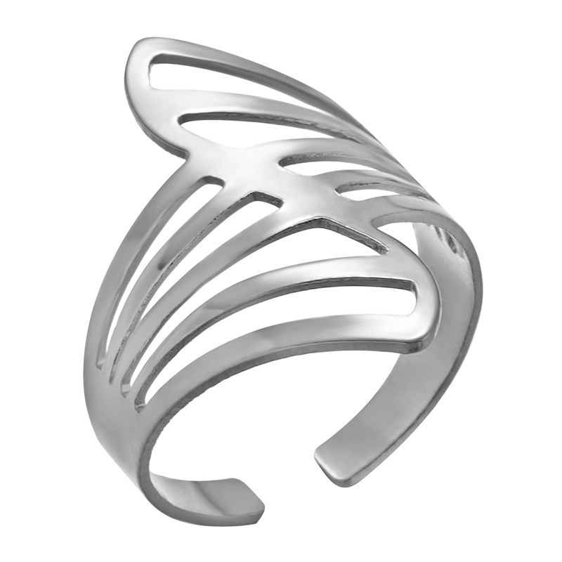 Adjustable Hollow Open Rings Striped Flower Heart Geometric Open Ring Stainless Steel Women Men Punk Knuckle Rings Party