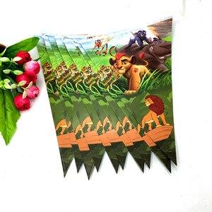 Image 2 - 10 Uds. Bandera de la fiesta de la guardia del león suministros para fiestas de cumpleaños de la fiesta del Rey León decoración del Partido de la guardia del Rey León