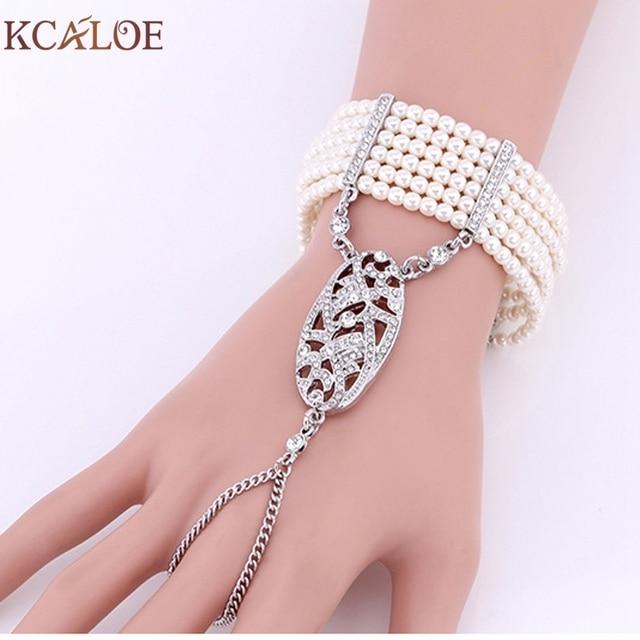 2016 New APM Fashion Ring Bracelet Luxury Brand Palm Imitation Pearls Crystal Rhinestone Cuff Bangle Brazaletes Pulseras Mujer
