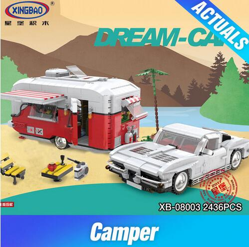XingBao 08003 2436Pcs New Creative Series The MOC Camper Set Children Educational Building Blocks Bricks Toys Model Gifts xingbao 01001 creative chinese style the chinese silk and satin store 2787pcs set educational building blocks bricks toys model