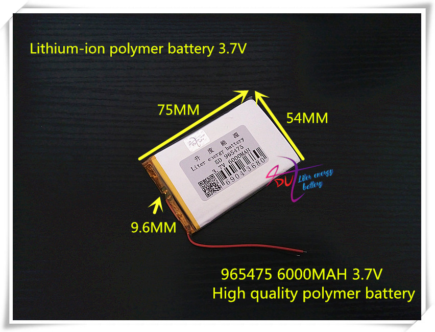 3.7V 6000mAH 965475  (polymer lithium ion battery ) Li-ion battery for power bank,tablet pc,gps,dvd,e-book,mp3,mp4