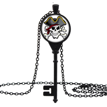 2016 New DIY Jewelry Vintage Key Necklaces & Pendants Anime Pirate Skull Glass Art Print Necklace for Men Women