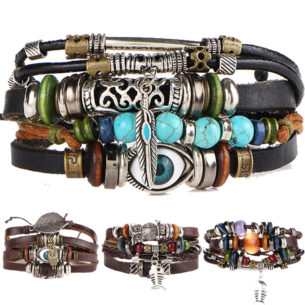 4PCS/SET Punk Vintage Pattern Leather Bracelet Jewelry Gift Bracelets For Man Handmade Black Regarder Bijouterie NEW 2016