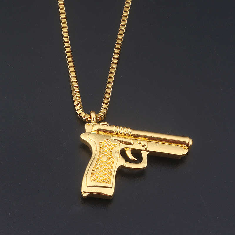 Moda biżuteria złoty pistolet kryształ biżuteria mężczyźni Hip Hop złoty łańcuch naszyjnik wisiorek mężczyzn i kobiet akcesoria do prezentów