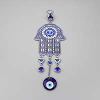 New Arrival Blue Oil Glass Evil Eye Fatima Hanging Hamsa Keychain Big Style Wholesale