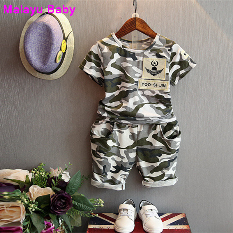 44d06af71bc5 Malayu Baby 2018 Summer Clothing Sets boy Cotton Camouflage uniform  children s wear Boys T-shirt+ Shorts Pants 2 Pcs Kids Clothe