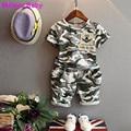Malayu Bebé 2016 niños de la manera del verano del bebé boys que arropa 2 unids camuflaje sport suit ropa conjuntos niños niñas conjunto 2-7Y