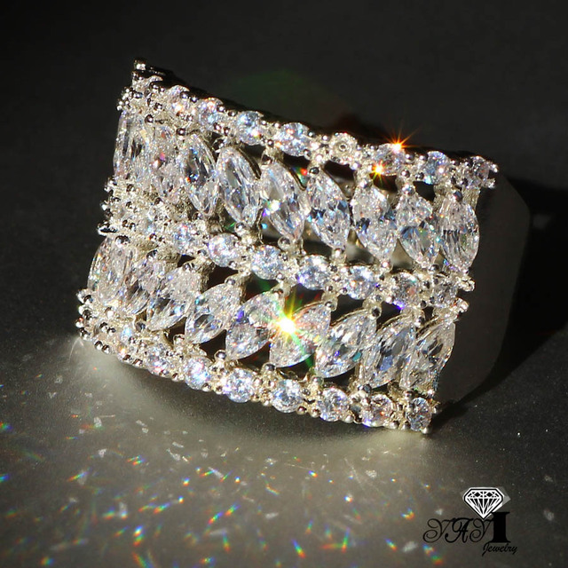 YaYI Jewelry Fashion  Princess Cut 4.5CT White Zircon Silver Color Engagement Rings wedding Rings Party Rings