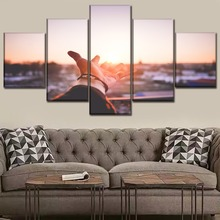 Canvas Paintings Wall Art 5 Piece Depth Of Field Sunset Hand Pictures HD Printing Type Posters Home Decor Living Room Framework