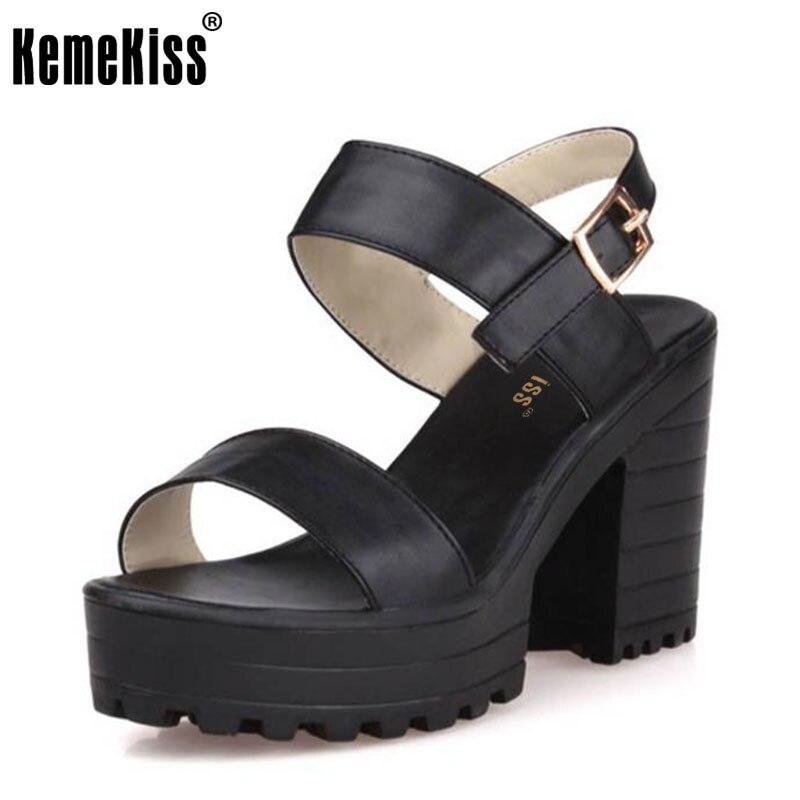 KemeKiss Women Summer Shoes Open Toe Sandals Platform Shoes Female Thick Heel Platform High Heels Sandals Size 34-39 PA00492 стоимость