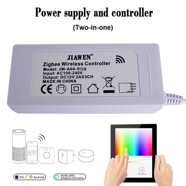 Jiawen Zigbee Controller work with major bridges/gateways for RGB/RGBW DC 12V led strip