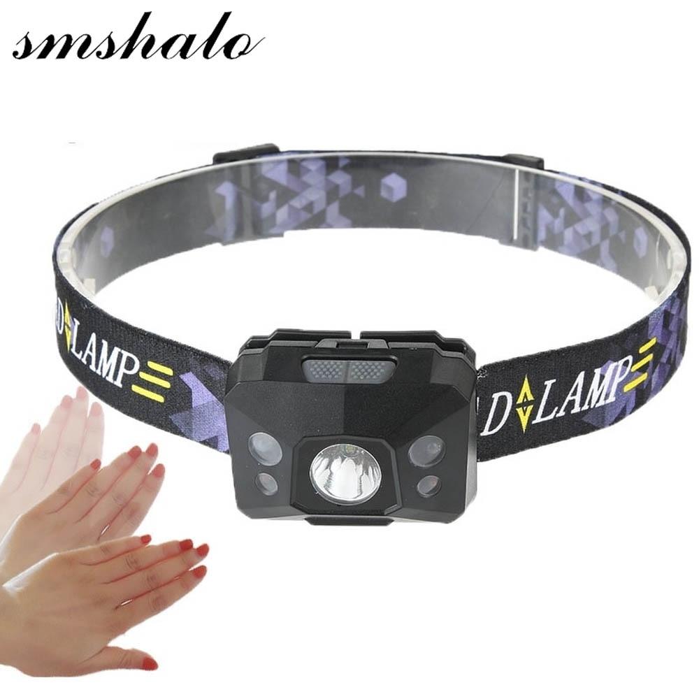 Motion Sensor LED Scheinwerfer Licht Angeln Lampe Kopf Taschenlampe frontale Led Scheinwerfer Outdoorlamp linterna led cabeza HoofdlampAAA