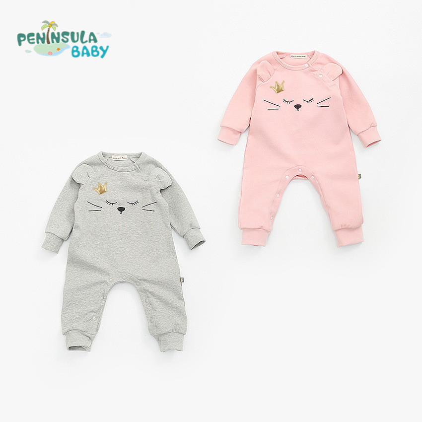 New 2017 Baby Girls Clothes One-piece Queen Cotton Long Sleeve Jumpsuits Infants Newborn Rompers Cartoon Cat Baby Boys Clothing hhtu brand baby rompers boys girls clothing quilted long sleeve jumpsuits newborn clothes boneless sewing children cotton winter