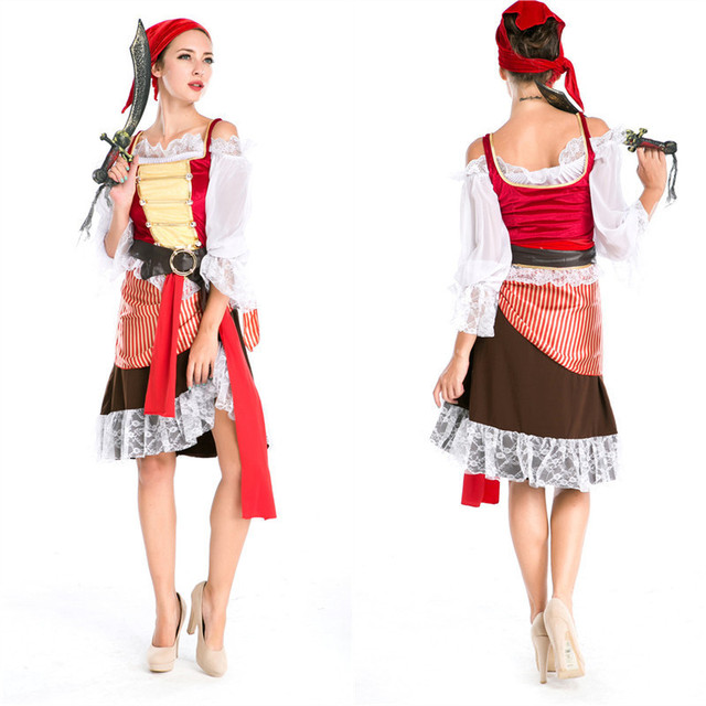 Carnevale pirata Costume adulto donna di colore marrone Vichingo cosplay di  alta qualità costume da pirata f1496a7afe7