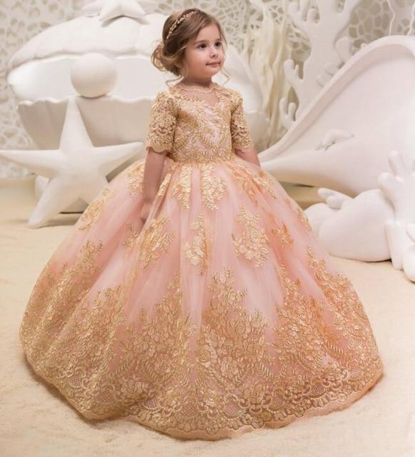 Adorable Kids Ball Gown Prom Dress Teens Formal Wear Gold ...  Pink Gold Dress