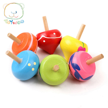 Wooden Mini Lovely Gyroscope Intelligence Training Freehand Education Beyblade Toys For 1~5 Years Old Children