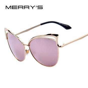 De las mujeres de la moda de diseño de marca de ojo de gato gafas de sol de marco de aleación de las mujeres de lujo de ojo de gato gafas de sol