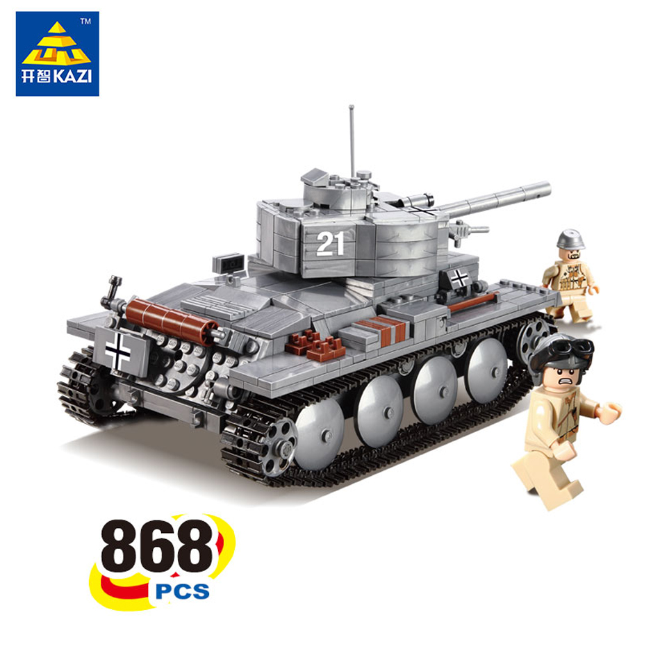 KAZI Military War Tank 3D Model PZKPFW-II Building Blocks Sets Compatible Legoed tank DIY Educational Christmas Toy For Children 84005 228pcs military ship kazi warship building bricks blocks sets christmas gift toy compatible with city destroyer