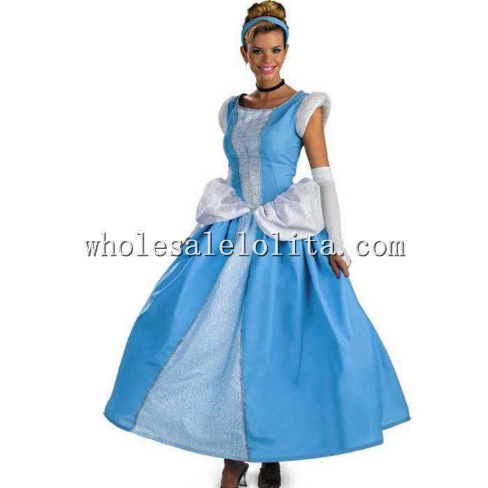 Top Fasion Cotton Chiffon Sleeveless Shipping Adult Cinderella Costumes Princess Costume Cosplay Halloween for Women - 2