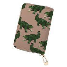 NOISYDESIGNS Bank Card Holder Dinosaur Print PU Leather ID for Women Fashion Travel Wallet Business New