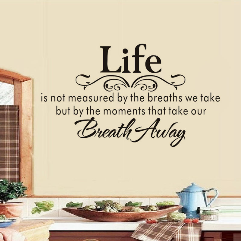 Life Is Not Measured By The Breaths Wall Stickers Quotes Wall