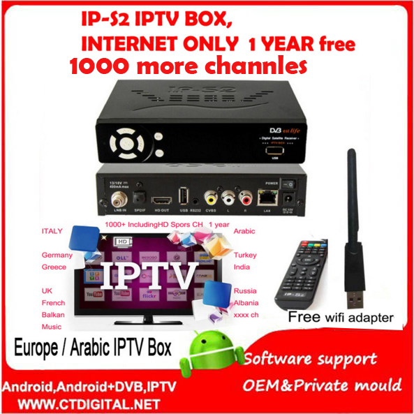 ip-s2 box iptv Satellite receiver  1080p Support DVB-S2 ip-s2 plus+wifi adapter+1year free Europe&Arabic iptv package A best v8 golden receptor satellite dvb t2 s2 c satellite receiver 1 year europe cccam cline support powervu biss key via usb wifi