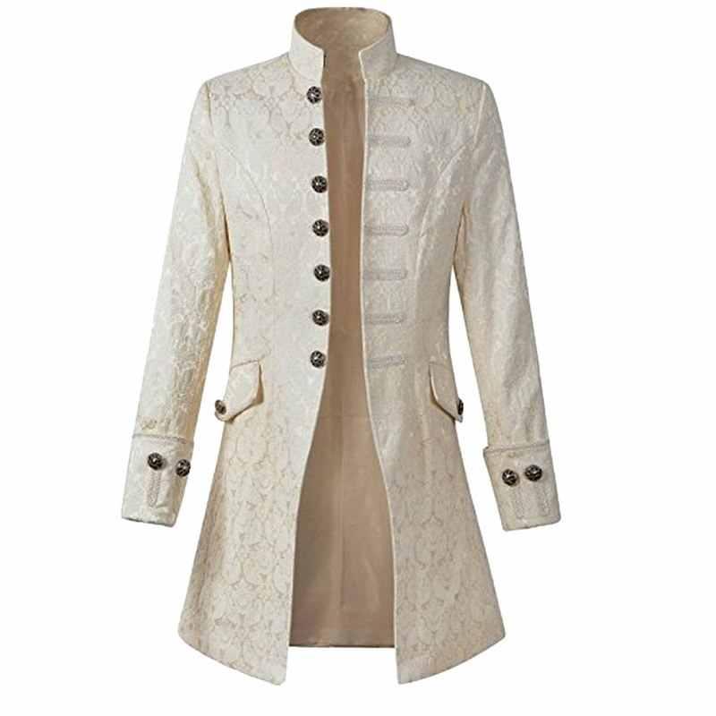 14041b1a1fa77 ... Puimentiua Mens Vintage Long Sleeve Coat Plus Size Brands Fashion  Gothic Brocade Jacket Frock Coat Steampunk ...