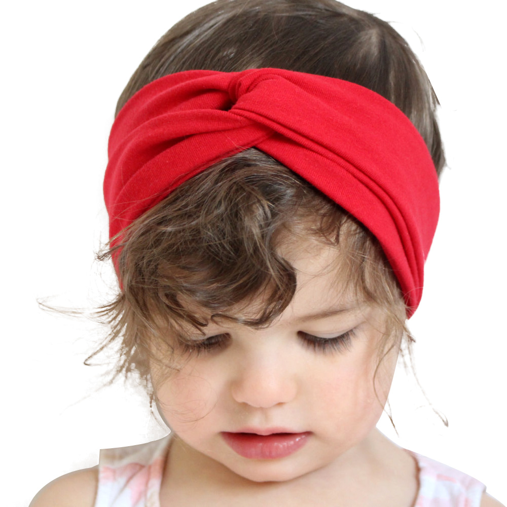 2547d84aed8 Newborn Solid Cross cotton Headbands for Girls Knot Elastic Ring Headband  Kids Cotton Hair Accessories elastic Hair Bands KT005