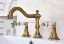 Bathroom Antique Brass Mixer Faucet Two Handles 3 Hole Basin Sink Hot Cold Water Taps Nan085 стоимость