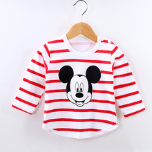 Baby Boys Girls Striped Tops Long Sleeved Cartoon