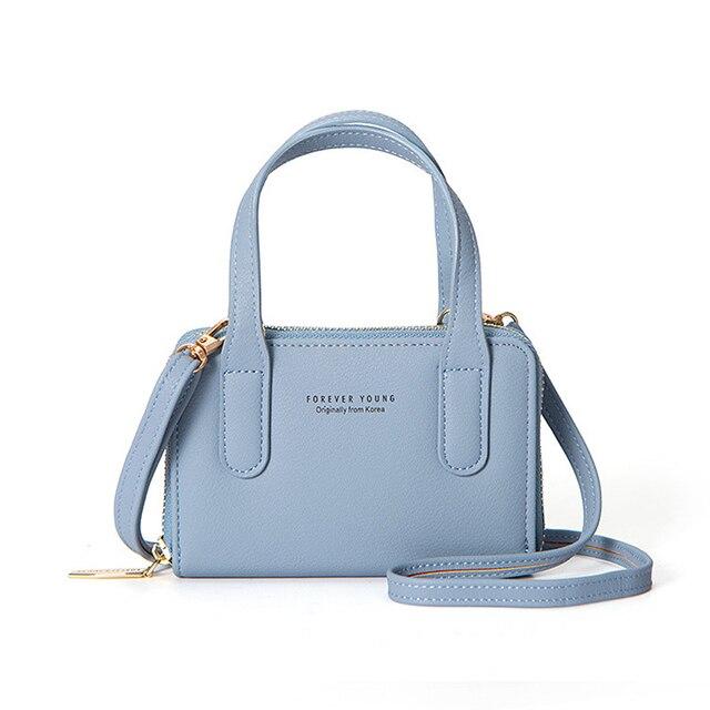 Korea Design Women PU Leather Crossbody Messenger Bag Girls Shoulder Bags  Fold Closure Handbag Purses Forever Young b050b44e9fbdb