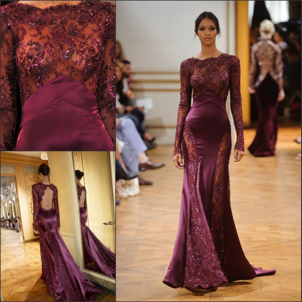 New Zuhair Murad Evening Gown Purple Lace Ing Mermaid Sleeves Long Train Y Keyhole Back Transpa Dress Eve 133 In Dresses From