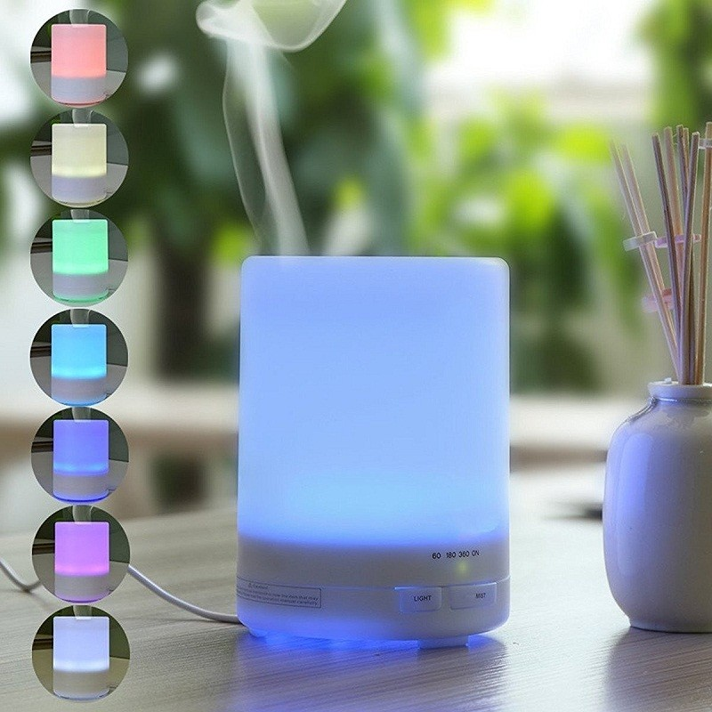 300ml Aromatherapy Humidifier 7 Colors LED light Ultrasonic Aroma Essential Oil Diffuser Air Humidifier Mist Maker for Home ivyshion 1pc arotrerapy humidifier creative heart fireworks led night light air humidifier seven colors aroma diffuser for home